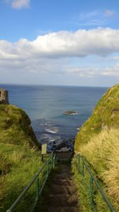 Dunluce Castle steps to ocean